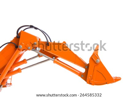 Digger excavator arm isolated on white background - stock photo