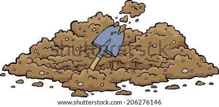 Digging hole on a white background raster version - stock photo