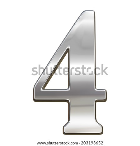 Digit figure four 4 from chrome solid alphabet isolated on white - stock photo