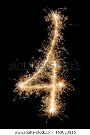 Digit four made of sparklers  - stock photo