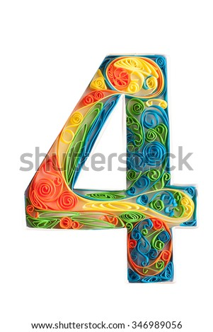 Digit from flower quilling alphabet. isolated on black including clipping path - stock photo