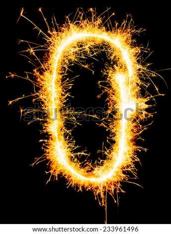 Digit 0 made of sparklers - stock photo