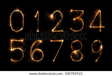digit set made of firework sparklers