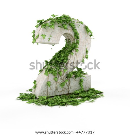 Digit two threads covered with ivy isolated on white background. - stock photo