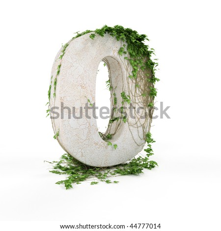 Digit zero threads covered with ivy isolated on white background. - stock photo
