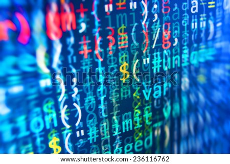 Digital abstract bits data stream, cyber pattern digital background. Blue color.   Vignette light and dark shadow dramatic effect. Gibberish, dummy, lorem ipsum text. Letters, chars, and digits.  - stock photo