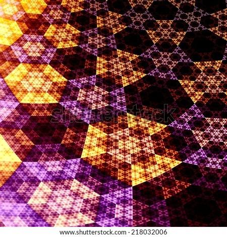 Digital Abstract Fractal Hexagons 3D Plane Background - Creative Flat Shiny Grids - Futuristic Funky Fantasy Art Illustration - Orange Purple Black Light - Visual Science Fiction Art Illustration -  - stock photo