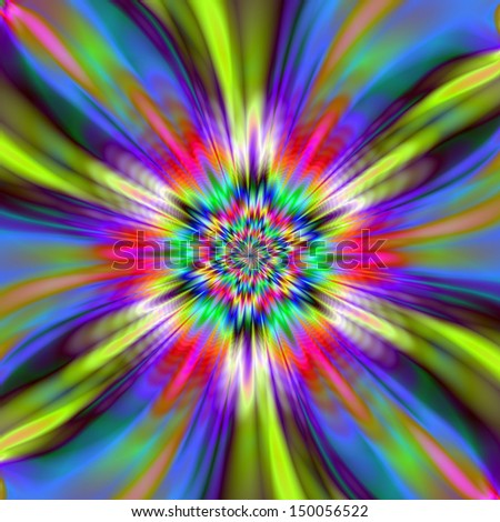 Digital abstract fractal image with a six pointed star design in blue, yellow, pink and purple.