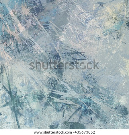 digital abstract impressionism style painting, abstract background design in blue green beige gray and white paint spatters and drips on canvas texture - stock photo