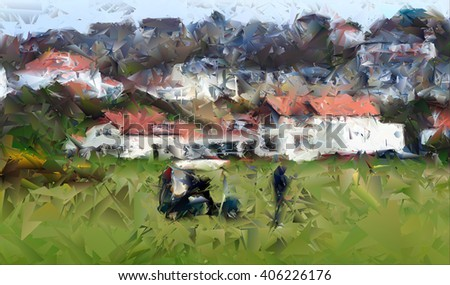 Digital abstract watercolour from a photograph of golfers playing in front of the Clubhouse of West Kilbride Golf Club, an 18 hole links course located on the North Ayrshire Coast of Scotland - stock photo