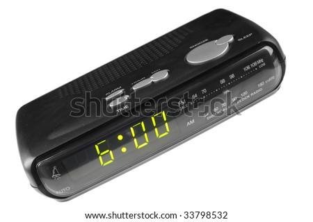 Digital alarm clock radio isolated over white background - stock photo
