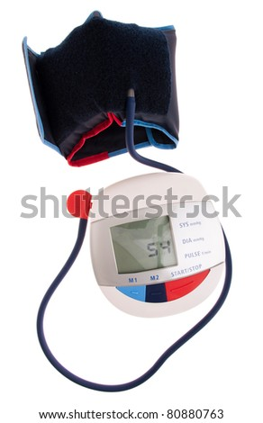 digital and modern blood pressure meter isolated on white background