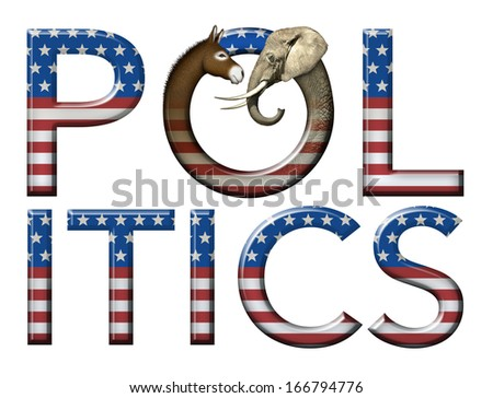 Digital and photo illustration of the word Politics with stars and stripes as well as a donkey and elephant head to represent democrats and republicans. - stock photo