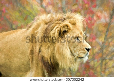 Digital art of a male lion. - stock photo