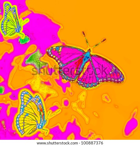 Digital art painting of beautiful psychedelic butterflies in a 1960s 1970s retro style concept with bright pink, orange, yellow and neon green colors. Square composition. - stock photo