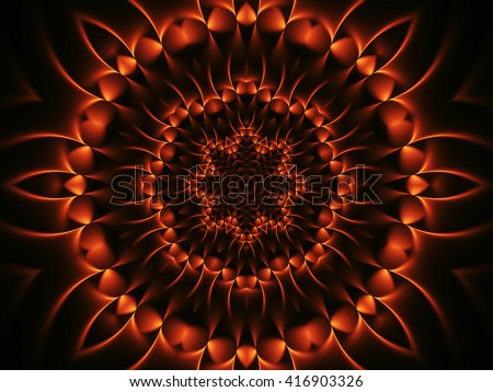Digital Art Psychedelic Orange Fractal Spiral Background