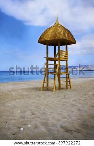 Digital art, watercolor paint effect Sunchair Lifeguard tower on caribbean beach, Haiti                                  - stock photo