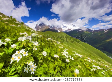 Digital artwork in watercolor painting style. Fields of blossom flowers in the mountains.  - stock photo