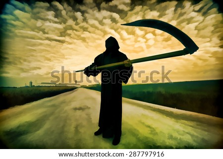 Digital artwork in watercolor painting style. Grim Reaper on the road