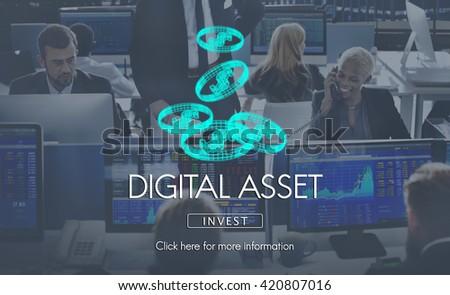 Digital Assets Finance Money Business Concept - stock photo