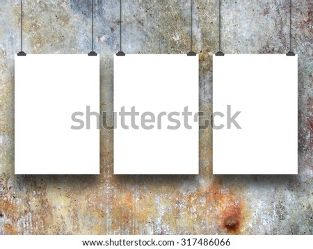 Digital background: three paper sheets with clips-brown gray blue ocher black white-grungy background - stock photo