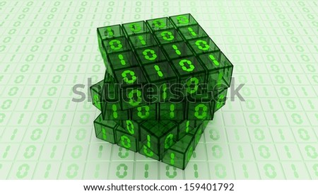 Digital Binary Magic Cube Box - Green Glass 4x4 - stock photo