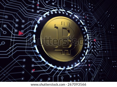 Digital Bitcoin. Golden coin with Bitcoin symbol in 'electronic' environment. 3D rendered image. - stock photo