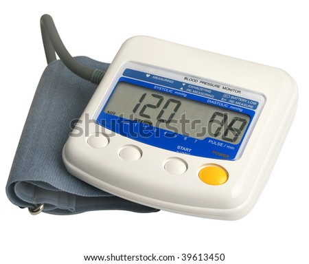 Digital blood pressure gauge over white - stock photo