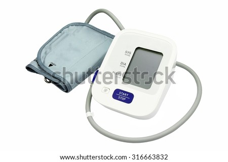 Digital Blood Pressure Monitor isolated on white background, Medical equipment, Examining equipment. - stock photo