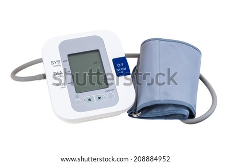 Digital blood pressure monitor isolated on white background with clipping path - stock photo