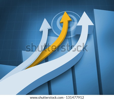 Digital blue background with arrows and a graph