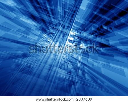 Digital blue hi-tech matrix illumination - stock photo