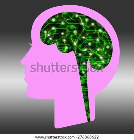 Digital brain background - stock photo