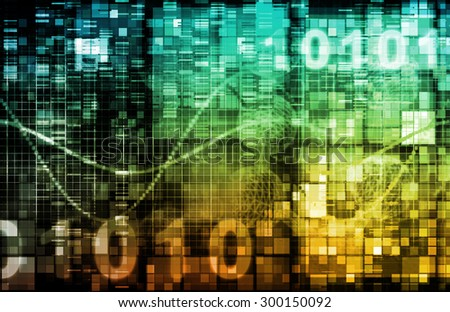 Digital Business World with Moving Data Management - stock photo