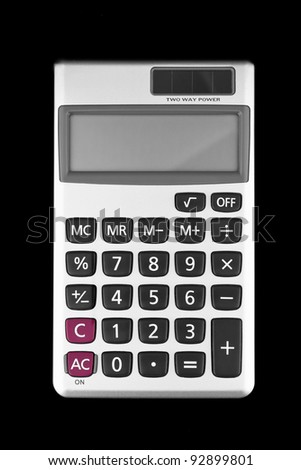 Digital calculator isolated on black background - stock photo