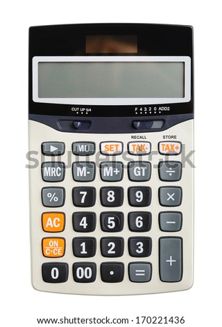 Digital calculator isolated on white background - stock photo