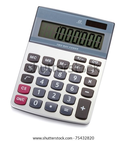 Digital calculator. Isolated on white background - stock photo