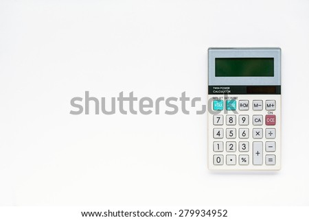 Digital calculator on white background - stock photo