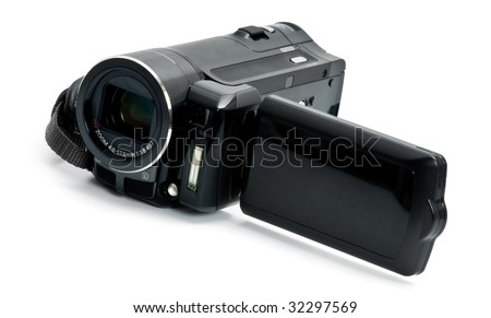 Digital camcorder isolated on white background