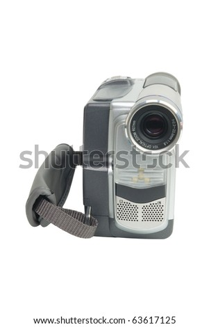 Digital camcorder isolated on white background - stock photo