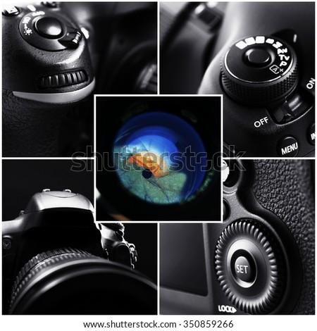 Digital camera collage - stock photo