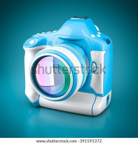 Digital camera 3d model image on blue background - stock photo