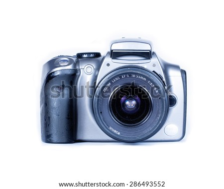 Digital camera on white background .Older digital cameras - stock photo