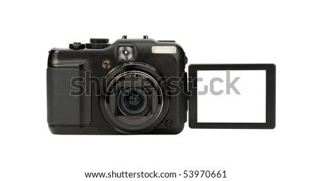 Digital Camera photo isolated on withe background - stock photo