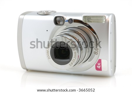 Digital camera with reflection in isolated white background