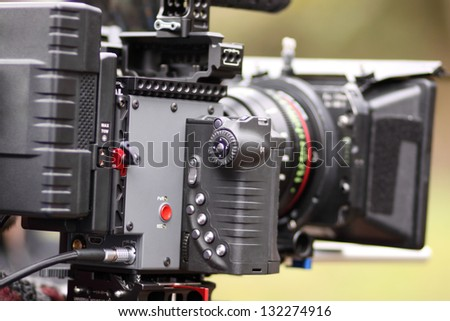 Digital cinema camera on a movie set.