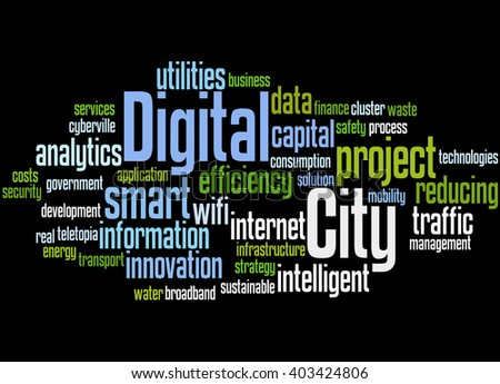 Digital City, word cloud concept on black background.