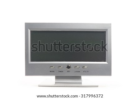 Digital clock isolated on white background.
