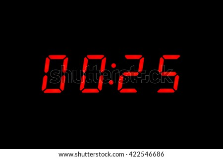 Digital clock show 00:25 on the black background