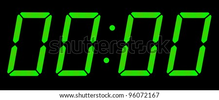 Digital clock show zero hours zero minutes. Isolated on the black background - stock photo